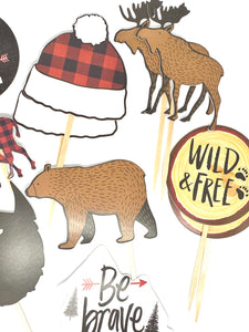 Adventure Theme, Nature Cupcake Toppers, Buffalo Plaid Party, Hipster Party Decor, Wild and Free, Be Brave, Lumberjack Party