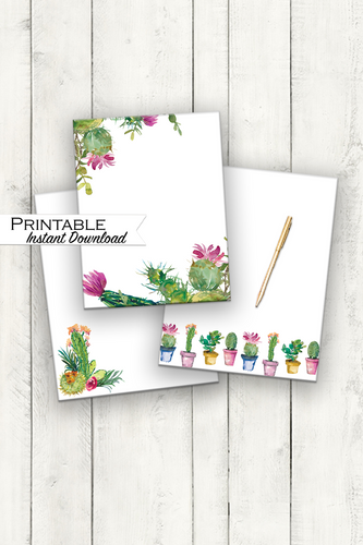 Stationary Set, Watercolor Cactus, Cactus Stationary, Mother's Day Gift, Stationary Printable, Floral Stationary, Spring Stationary