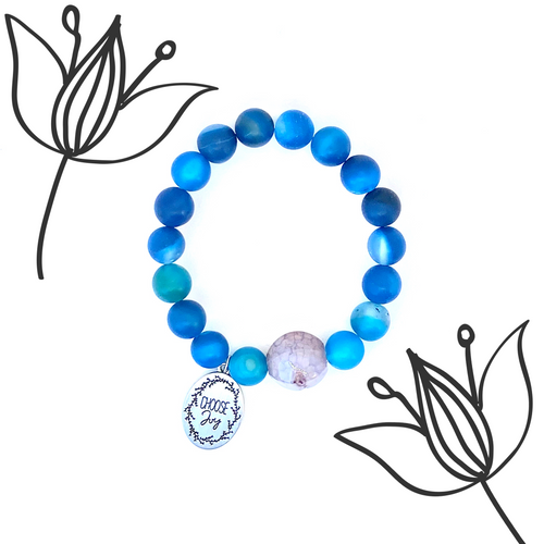 Blue Agate 'Choose Joy' Charm Bracelet, Healing Large Bead Bracelet, Improve Concentration, Yoga Jewelry for Women