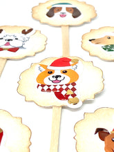 Load image into Gallery viewer, Christmas Dog Cupcake Toppers. Puppy Christmas Party. Santa Hats on Dogs. Christmas Party Decor. Dog Lover Gift.