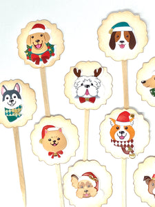 Christmas Dog Cupcake Toppers. Puppy Christmas Party. Santa Hats on Dogs. Christmas Party Decor. Dog Lover Gift.