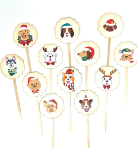 Christmas Dog Cupcake Toppers, Christmas Party, Christmas Party Decor, Dog Lover