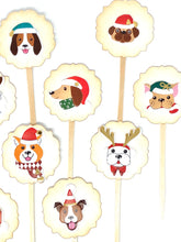 Load image into Gallery viewer, Christmas Dog Cupcake Toppers, Christmas Party, Christmas Party Decor, Dog Lover