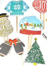 Load image into Gallery viewer, Christmas Variety Cupcake Toppers. Ugly Christmas Sweater Party Decor. Snow Globe. Ice Skates. Let it Snow. Christmas Tree. Ornaments.