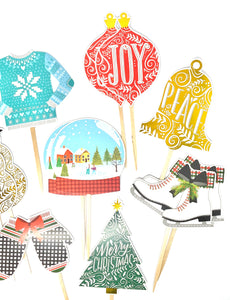 Christmas Variety Cupcake Toppers. Ugly Christmas Sweater Party Decor. Snow Globe. Ice Skates. Let it Snow. Christmas Tree. Ornaments.