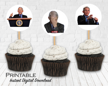Load image into Gallery viewer, Dr. Fauci Printable Stickers, Dr. Fauci Cupcake Toppers, Political Funny, Instant Digital Download, Election 2020
