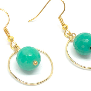 Geometric Circle Earrings, Gold Circle with Floating Teal Beads