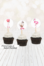 Load image into Gallery viewer, Pink Flamingo Cupcake Toppers, Flamingo Decor, Flamingo Printable, Flamingo Stickers, Flamingo Cupcakes, Flamingo Party, Baking Gifts