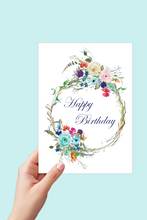 Load image into Gallery viewer, Happy Birthday Card, Floral Wreath Card, Printable Card, Happy Birthday