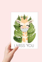 Load image into Gallery viewer, Miss you Card, Giraffe, Face Mask Card, I Miss you, Printable Card