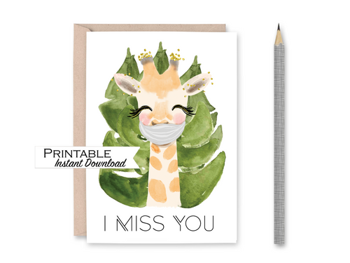 Miss you Card, Giraffe, Face Mask Card, I Miss you, Printable Card