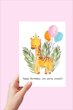 Load image into Gallery viewer, Printable Happy Birthday Card - Party Animal Giraffe with Balloons