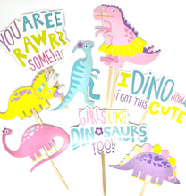 Load image into Gallery viewer, Dinosaur Cupcake Toppers. Girls Dinosaur Party. Dinosaur Party Decor. Dinosaur Sticker Set. Dino Birthday.
