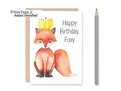 Happy Birthday Foxy, Funny Birthday Card, Fox Birthday Card, Birthday Card, Watercolor Card, Printable Card