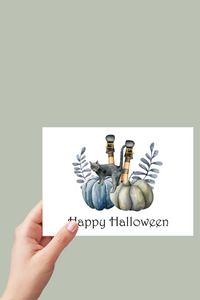 Happy Halloween Card, Witchy, Halloween Cards, Black Cat Card, Pumpkins, Printable Card