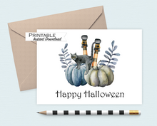 Load image into Gallery viewer, Happy Halloween Card, Witchy, Halloween Cards, Black Cat Card, Pumpkins, Printable Card