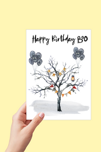 October Birthday, Birthday Card, Happy Birthday Boo Card, Halloween Cards, Printable Card