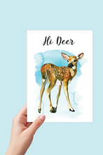 Load image into Gallery viewer, Hi Deer Card, Baby Deer Card, Fawn, Just Because Card, Watercolor Card, Printable Card