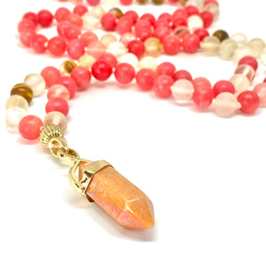 Cherry Quartz, Rhodonite, Red Healing Necklace, 108 Bead Mala, Positive Vibes, Stone of Compassion