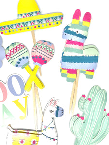 Cinco de Mayo Cupcake Toppers. Quinceañera. Piñata Party. Llama Party Decor. Cinco de Mayo Sticker Set. Llama Birthday. Cactus Party Decor.