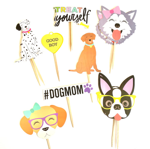 Dog Cupcake Toppers. Puppy Party Decor. Treat Yourself. #DogMom. Dog Themed Birthday Party. Dog Sticker Set. Puppy Baby Shower.