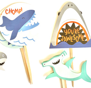 Shark Cupcake Toppers. Shark Party. Shark Party Decor. Shark Sticker Set. Shark Birthday Decor.
