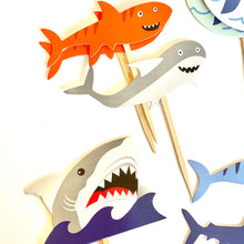 Load image into Gallery viewer, Shark Cupcake Toppers. Shark Party. Shark Party Decor. Shark Sticker Set. Shark Birthday Decor.
