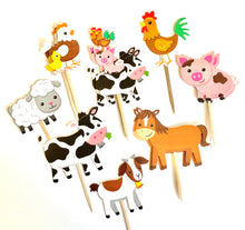 Load image into Gallery viewer, Farm Animal Cupcake Toppers. Animal Party. Farm Party Decor. Farm Animal Sticker Set. Farm Animal Baby Shower Decor.