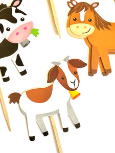Farm Animal Cupcake Toppers. Animal Party. Farm Party Decor. Farm Animal Sticker Set. Farm Animal Baby Shower Decor.