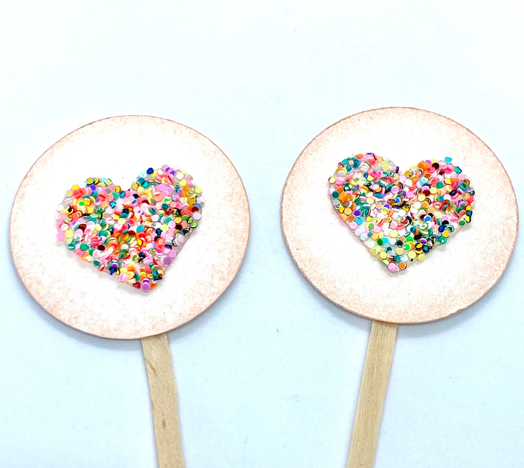 Valentines Party Cupcakes. Glittery Heart Valentines Day Cupcake Toppers. Valentines Decor. Colorful Heart Decor.