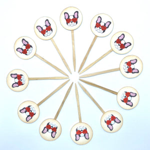 Valentines Day Puppy Cupcake Toppers. Boston Terrier Decorations. Heart Sunglasses. Cute Puppy Decor. Valentines Party.