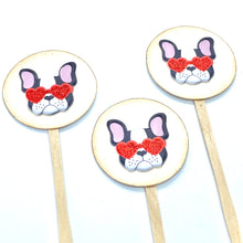 Load image into Gallery viewer, Valentines Day Puppy Cupcake Toppers. Boston Terrier Decorations. Heart Sunglasses. Cute Puppy Decor. Valentines Party.