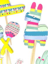 Load image into Gallery viewer, Cinco de Mayo Cupcake Toppers. Quinceañera. Piñata Party. Llama Party Decor. Cinco de Mayo Sticker Set. Llama Birthday. Cactus Party Decor.