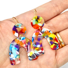 Load image into Gallery viewer, Rainbow Dangle Earrings. Rainbow Trendy Earrings. Statement earrings. Modern jewelry. Multicolor Earrings. Cellulose Acetate.