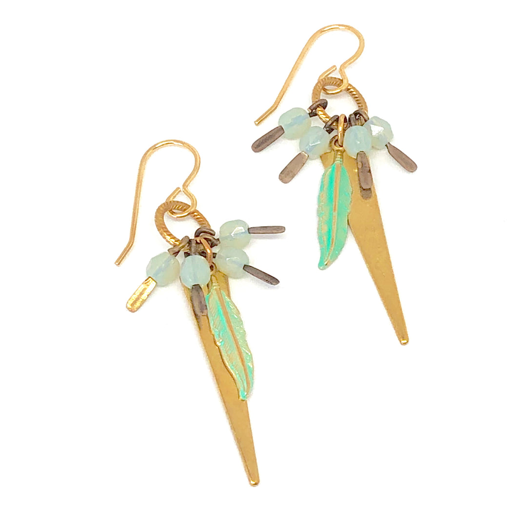 Dainty Dangle Earrings. Bronze Feather Charm. Boho Earrings. Triangle Earrings.