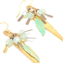 Load image into Gallery viewer, Dainty Dangle Earrings. Bronze Feather Charm. Boho Earrings. Triangle Earrings.