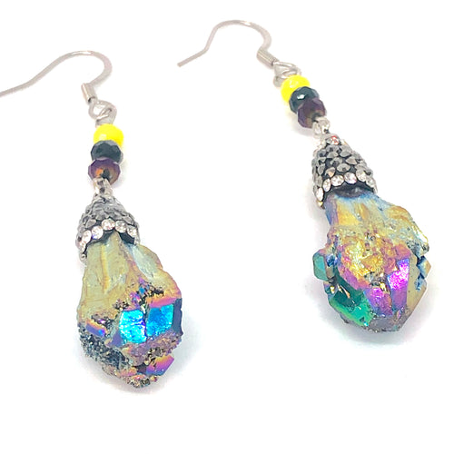 Rainbow Rock with Bling + Purple Blue and Yellow Minis - Whimsical Dangle Earrings