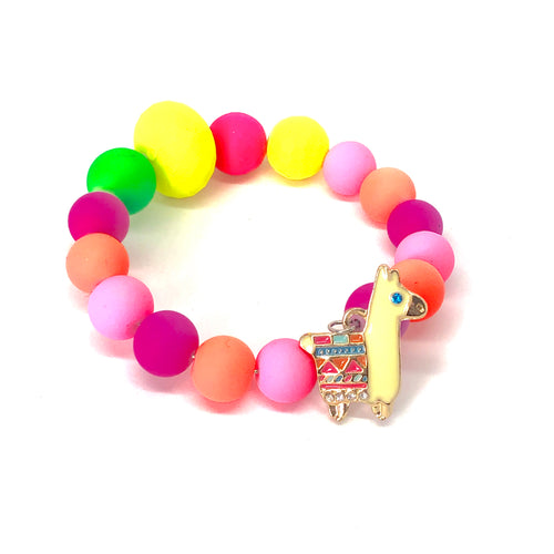 A Little Neon Llama Love, Little Girls Wrap Bracelet with Neon Colored Beads. Llama Party Favor. Llama Birthday. Girls Jewelry.