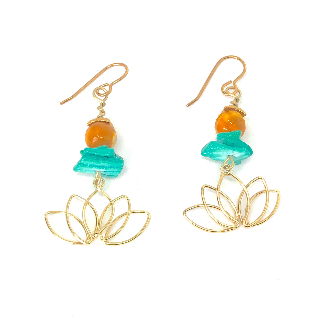 Gold Lotus with Teal Shell + Deep Yellow Beads - Spiritual Celestial Floral Dangle Earrings