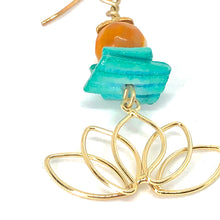 Load image into Gallery viewer, Gold Lotus with Teal Shell + Deep Yellow Beads - Spiritual Celestial Floral Dangle Earrings