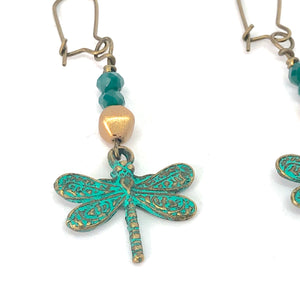 Dragonfly Dangle Earrings - Teal Green and Gold Distressed - Represents Change, Prosperity, Harmony + Good Luck