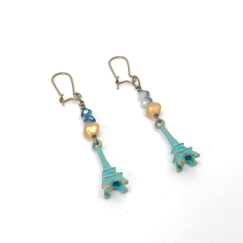 Eiffel Tower Paris Teal Blue + Gold Distressed - Dangle Earrings