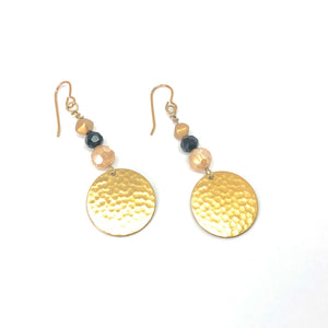 Hammered Gold Disc with Gold and Black - Dangle Earrings