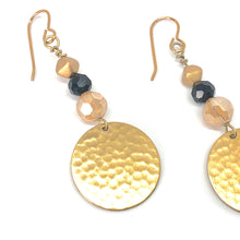Load image into Gallery viewer, Hammered Gold Disc with Gold and Black - Dangle Earrings