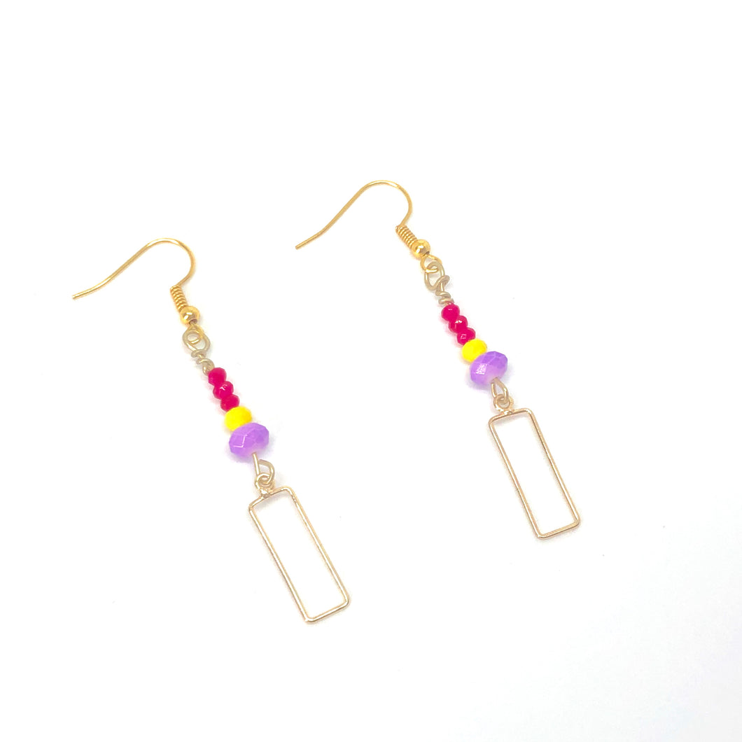 Gold Rectangles with Purple Yellow + Hot Pink Beads - Dangle Geometric Earrings