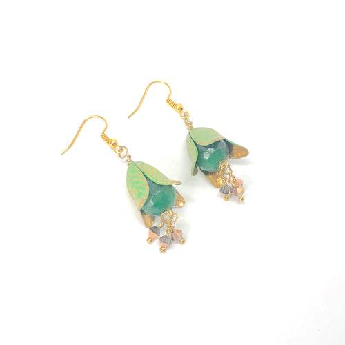 Green Drop Magnolia Flowers with Swarovski Crystals - Dangle Earrings