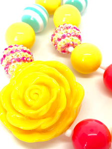 Bright Yellow Rose, Neon Pink and Teal Striped Girls Colorful Bubblegum Necklace