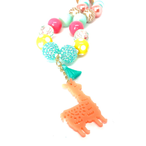 No Llama Drama Girls Bubblegum Necklace