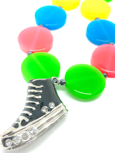 Black Sneaker + Neon Candy Girls Charm Necklace