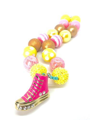 Pink Sneaker + Yellow Gold Girls Bubblegum Bead Necklace
